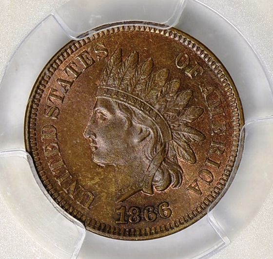 1866 INDIAN CENT PCGS MS-65 BROWN