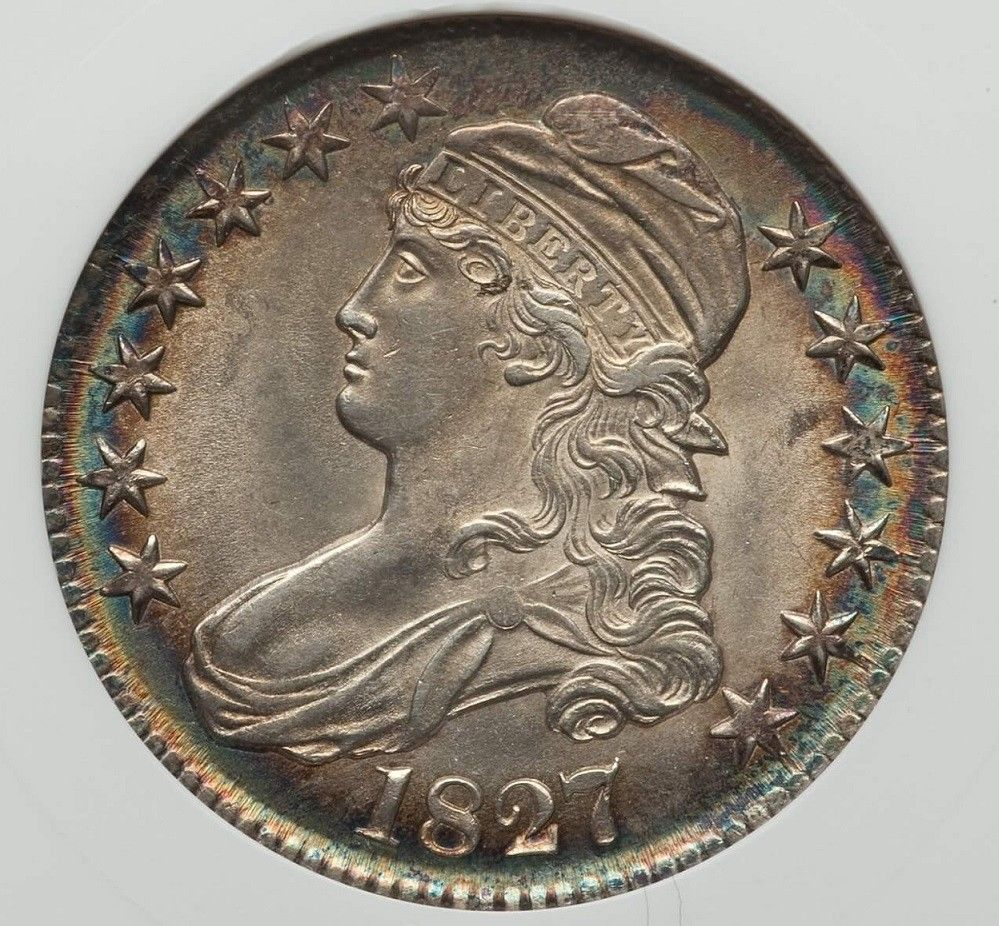 1827 O-114 CAPPED BUST HALF DOLLAR ANACS UNC DETAILS CLEANED NET MS-60