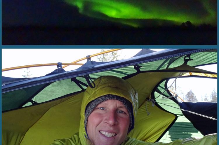 Vom Zelt aus bestaunte ich bei kalten -20 Grad die Nordlichter.