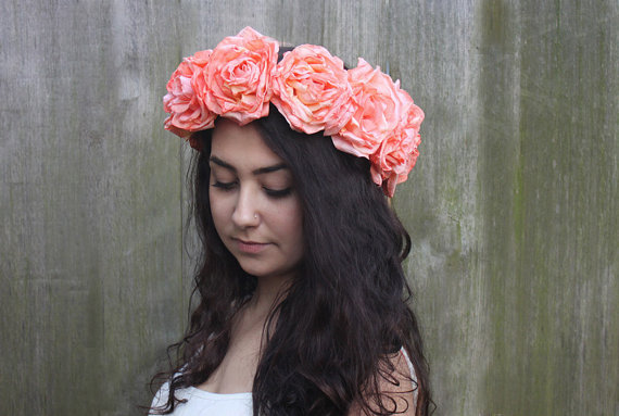 Peach Coral Rose Flower Crown
