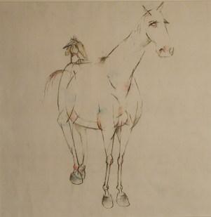 Pferd und Vogel 1999, Kohle/Pastell, 100 x 60 cm