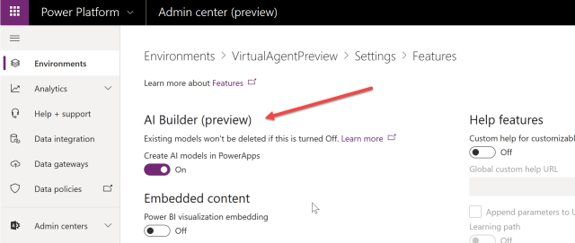 Enabling AI Builder in the Power Platform Admin Centre