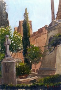 Cimitero acattolico Roma oil on panel 20x30 cm