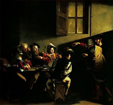 Vocazione di San Matteo, Caravaggio - fonte Wikipedia