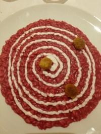 risotto ipnotico, rapa rossa, yogurth, e polpettine