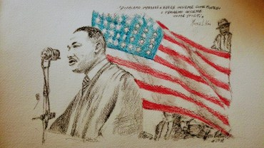 Martin Luther King - matita, acquerello, carboncino