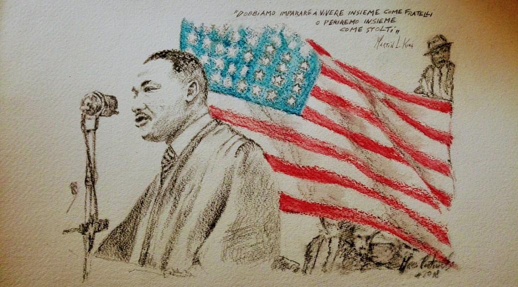 Martin Luther King - matita, acquerello, carboncino