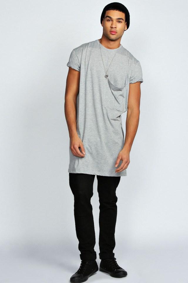 camiseta masculina longline