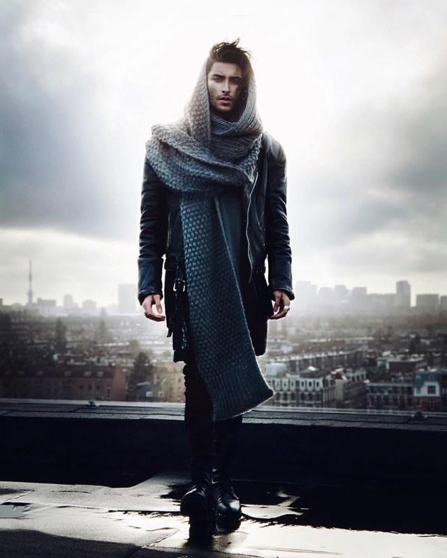 Cachecol oversized ou manta masculina