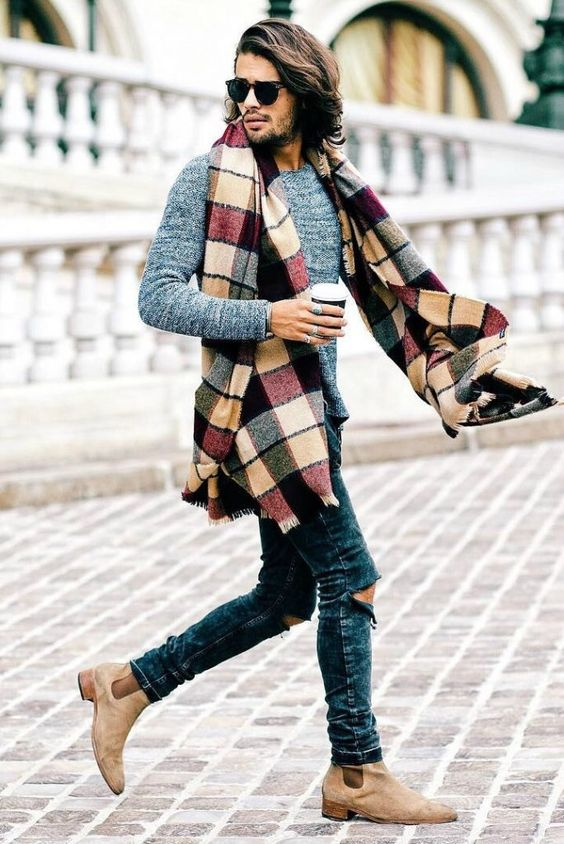 Moda masculina cachecol e bota chelsea