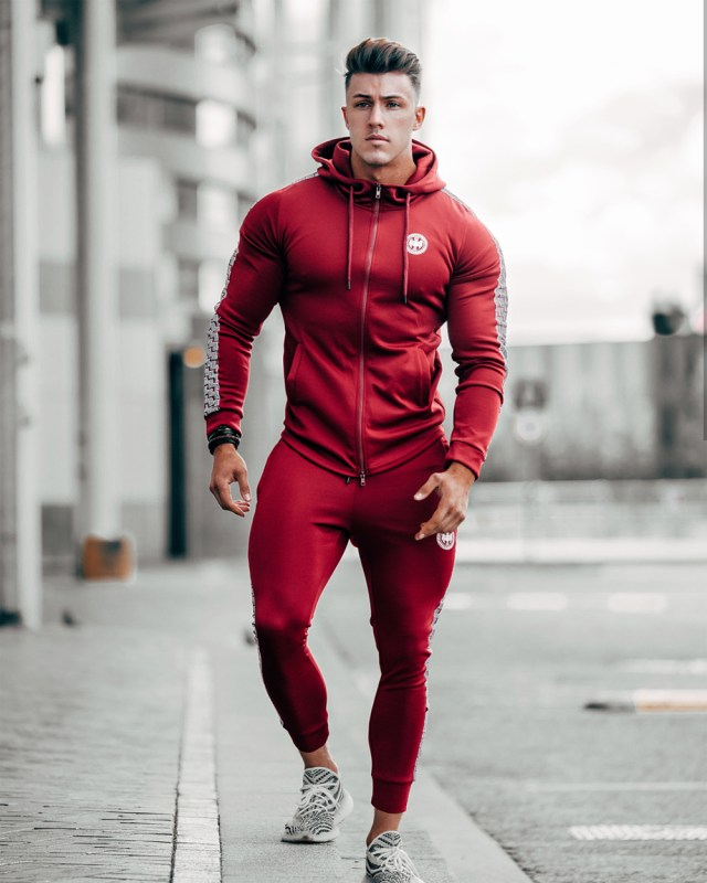 Conjunto esportivo masculino Tracksuit vermelho