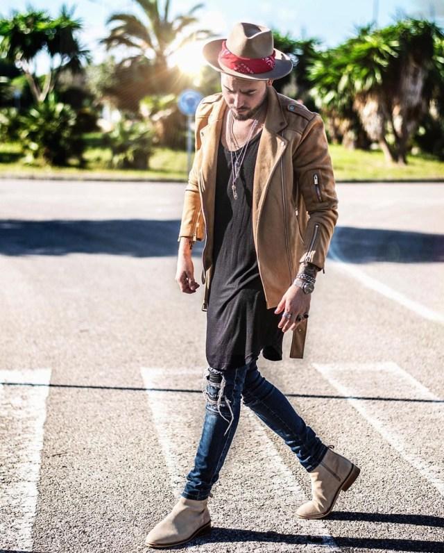 Outfit masculino com Bandana e chapéu Fedora