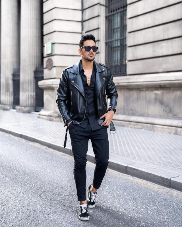 Outfit masculino com jaqueta de couro