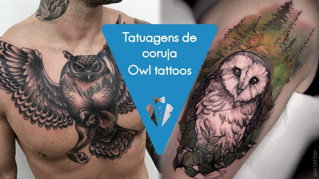 Tatuagem de coruja para homens