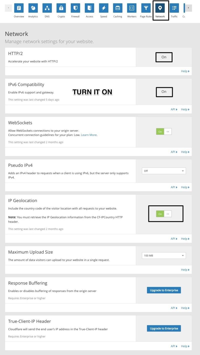 configurazione della rete delle regole della pagina cloudflare