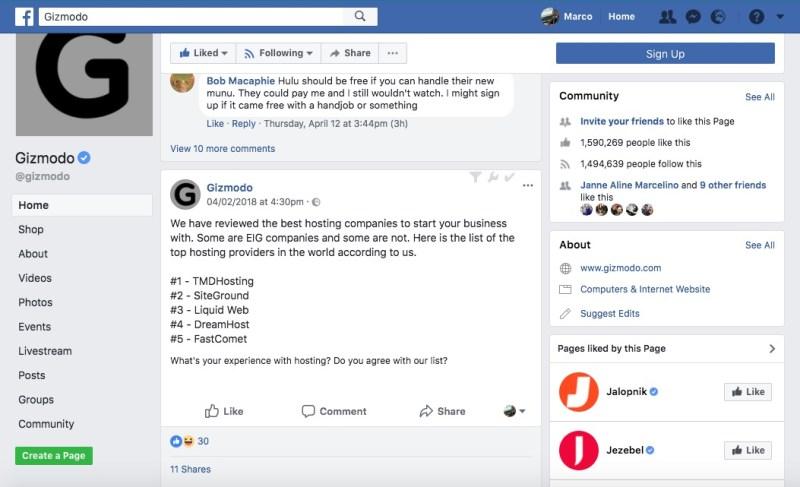 facebook status per tmdhosting