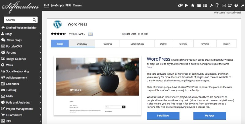 tmd hosting one click wordpress installation
