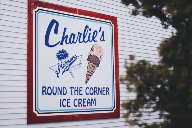 ice cream ad on a wall