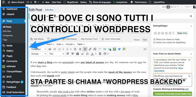 il backend di wordpress