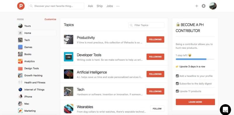 product hunt topics