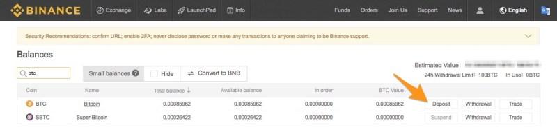 manda i bitcoin su binance