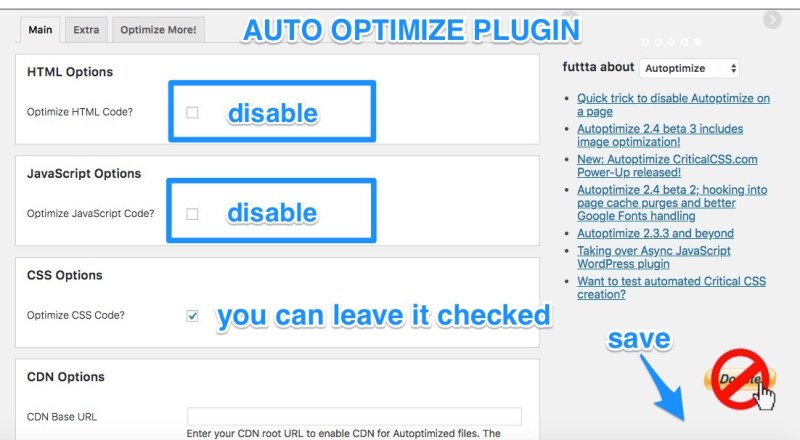 autoptimize disabilitato