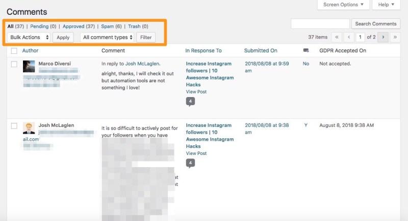 wordpress commenti