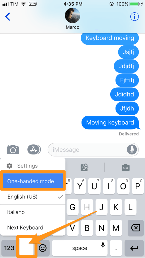 gboard iphone keyboard one hand