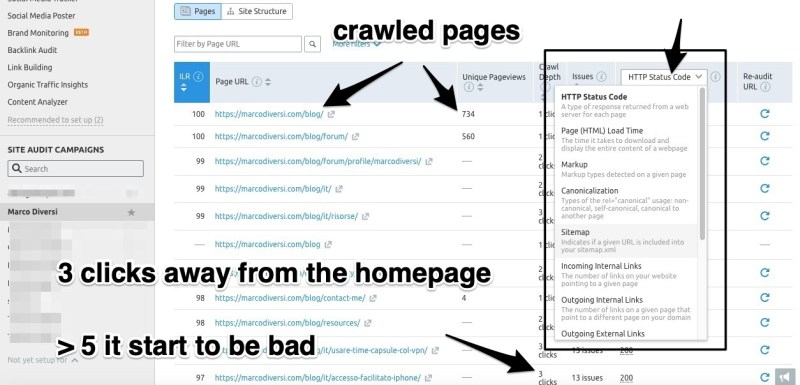 semrush audit crawled pages