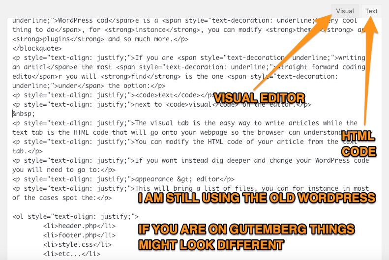 html code on wordpress editor