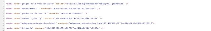 meta tag di verifica