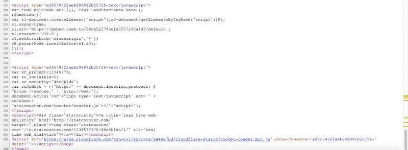 script alla fine del codice