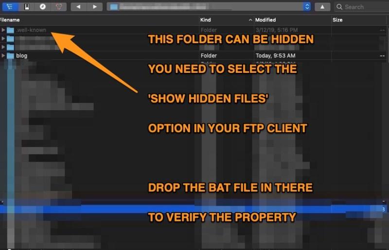 bat verification via well-known folder