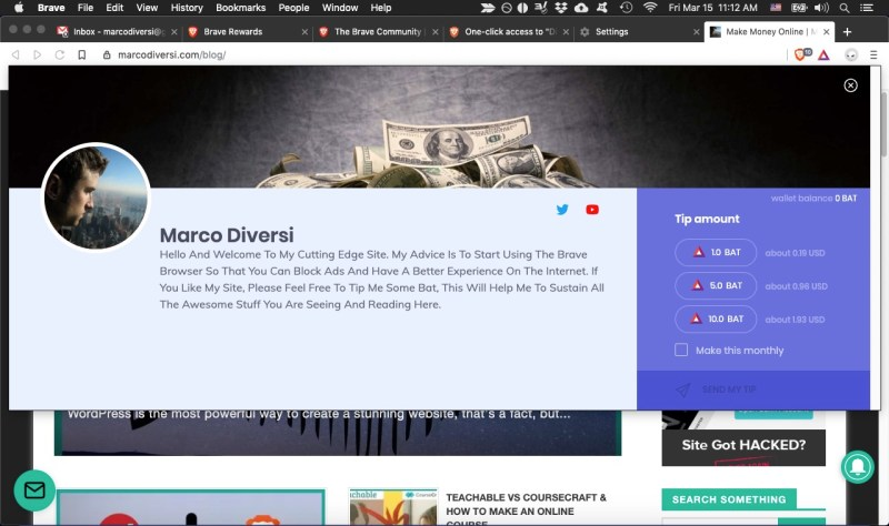 brave bat tip to a verified site