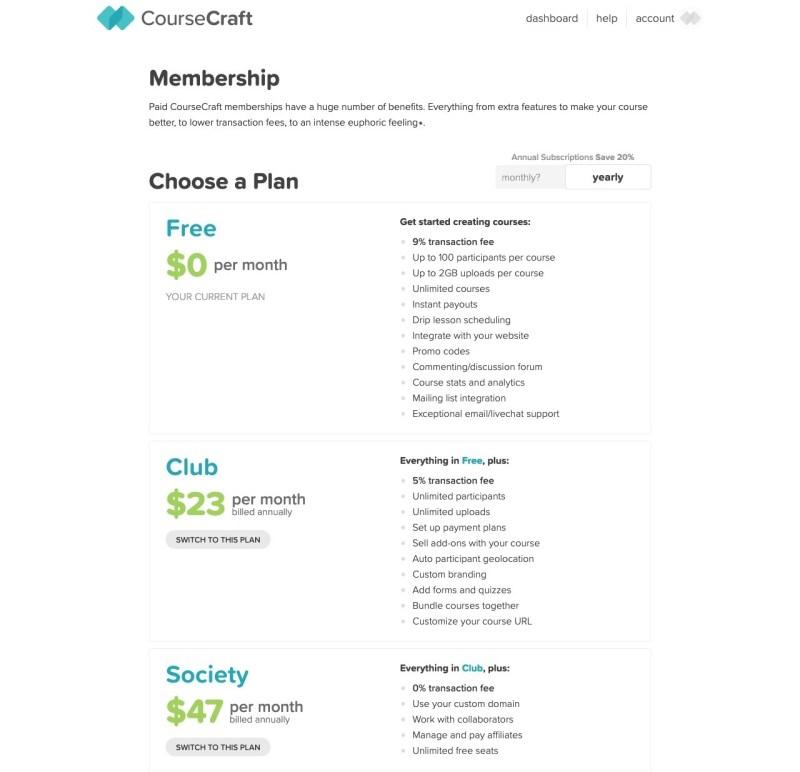 coursecraft pricing