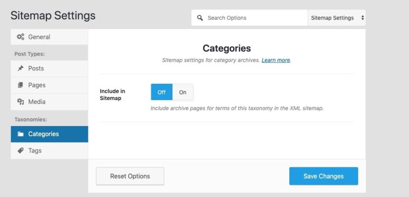 disable categories sitemap