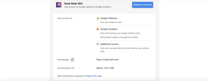 rank math google access