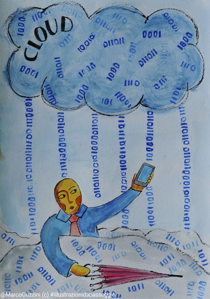 illustrazione da passeggio cloud dati