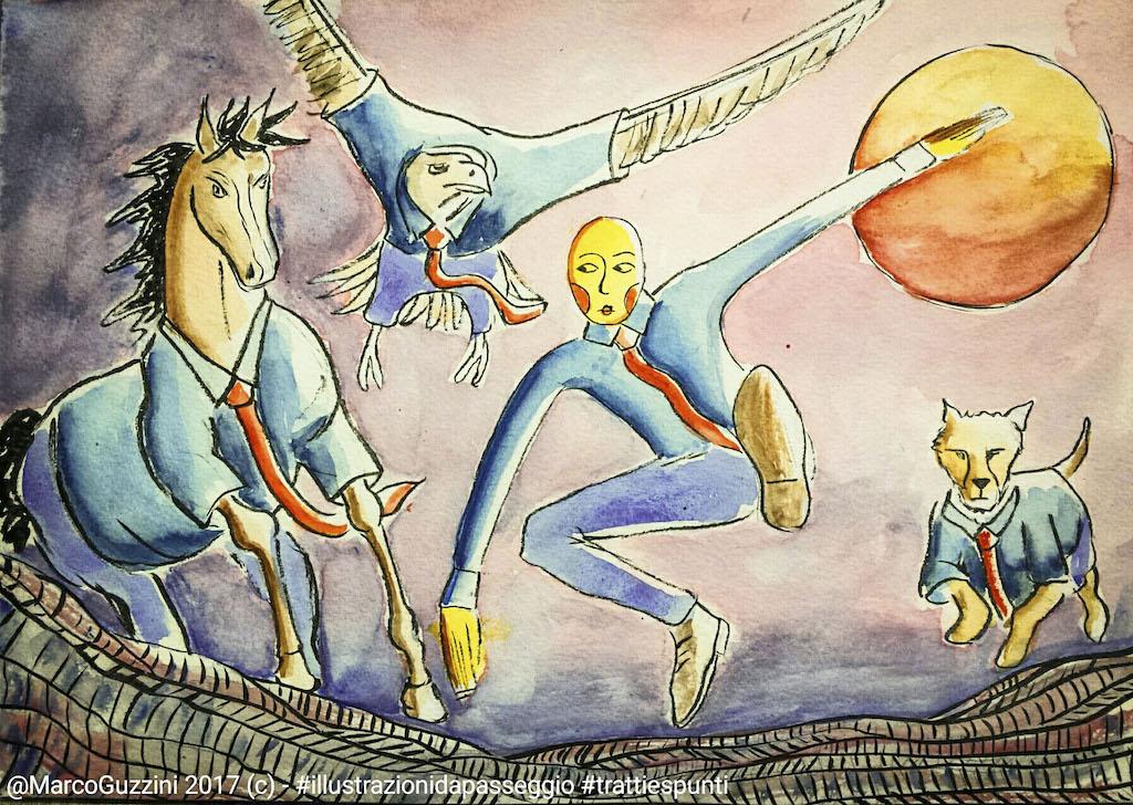 illustrazione da passeggio - la corsa