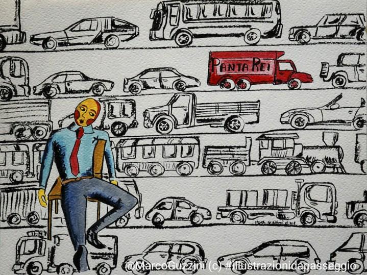 illustrazione da passeggio marco guzzini blo panta rei tutto scorre