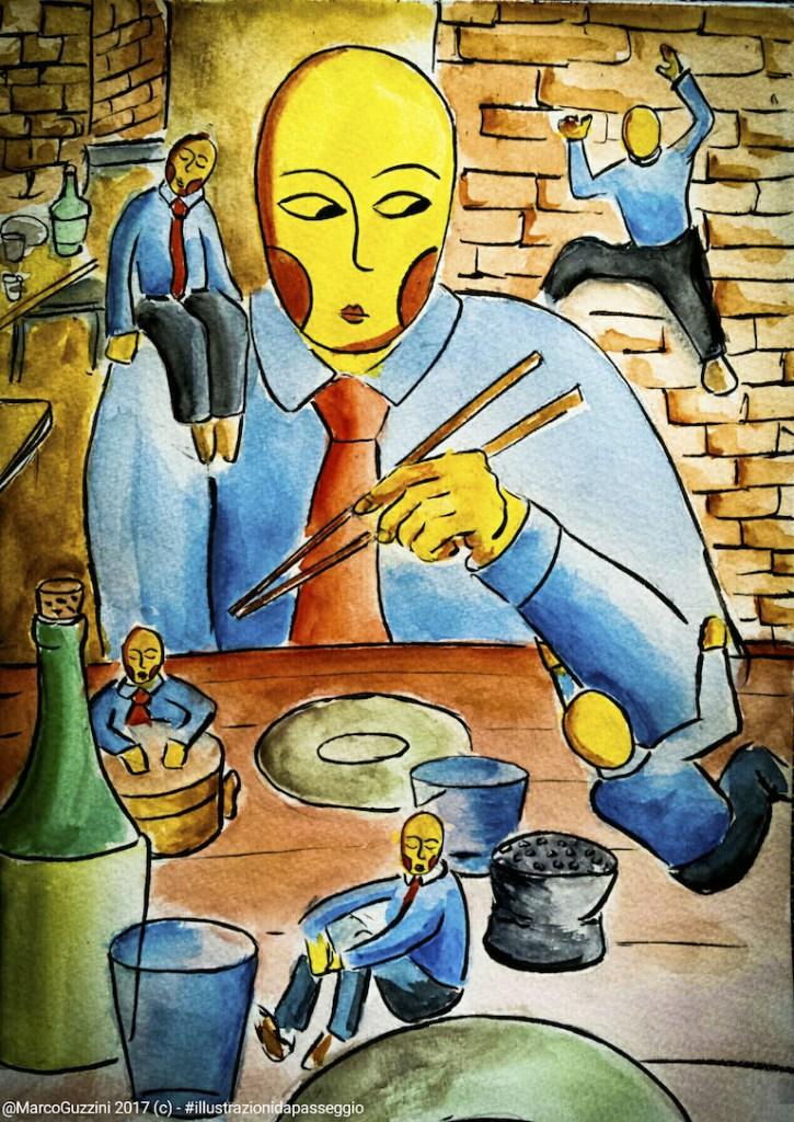 illustrazione da passeggio - pausa pranzo - Marco Guzzini