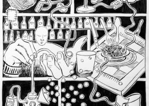 serie di illustrazioni il filo , come realizzare una illustrazione, esercizi di improvvisazione