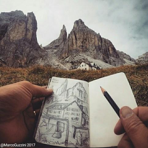 Sketchbook al Rifugio Vajolet dolomiti Val di Fassa