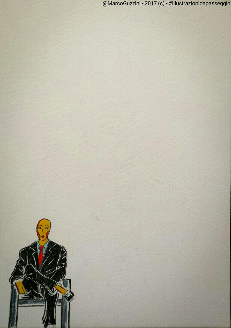 illustrazione da passeggio pensiero in bianco