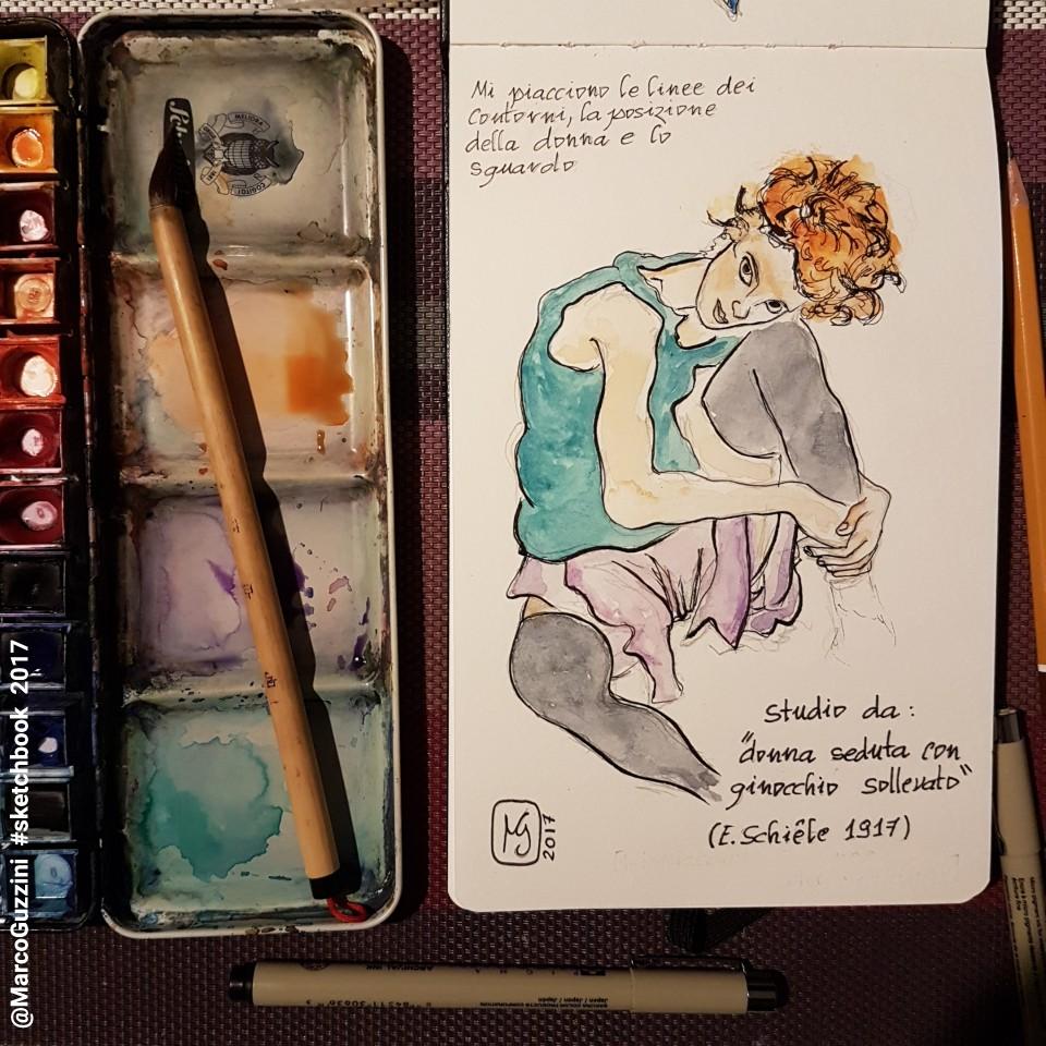 schizzo tratto da un quadro di Schiele - sketchbook marco guzzini