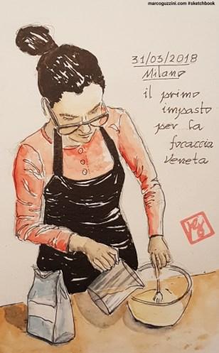 preparazione della focaccia veneta - ricetta per la focaccia - dolce fatto in casa