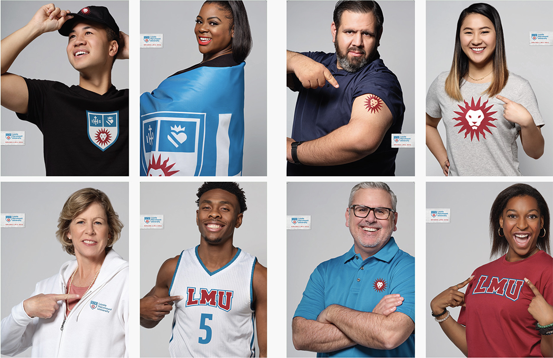 Photos of LMU staff, faculty and students wearing new swag