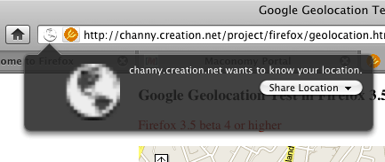 Firefox 4, beta 1's handling of geolocation