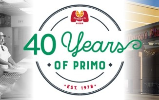 "A graphic with a vintage black-and-white photo of two people making pizza under a Marco's Pizza sign on the left, a modern-day Marco's Pizza exterior on the right, and in the middle a logo with the Marco's Pizza logo and text ""40 Years of Primo 