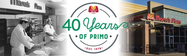 """A graphic with a vintage black-and-white photo of two people making pizza under a Marco's Pizza sign on the left, a modern-day Marco's Pizza exterior on the right, and in the middle a logo with the Marco's Pizza logo and text """"40 Years of Primo 
